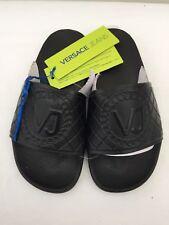VERSACE JEANS Black Heavy Rubber Large Logo Sandals/Slides Size UK 2.5 - 7 BNIB
