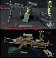 "1:6 MK46 Light Machine Gun Black/Sand 2-Color Gun Model For 12"" Soldier Figure"