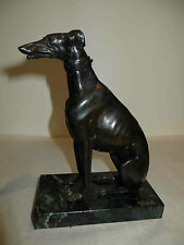 Antique Bronze Greyhound Dog Detailed Statue Marble Base c1870 - Have a Pair!