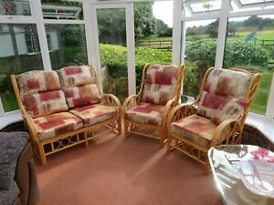 conservatory cane furniture - 2 chairs and 2-seater sofa. Cushions with zips