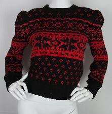 VTG Womens Ralph Lauren 100% Wool Hand Knit sweater puff sleeves Size S