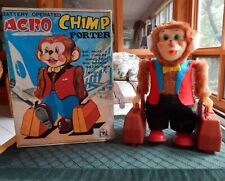 VINTAGE BATTERY OPERATED 1960's ACRO CHIMP PORTER ~ BOX ~ NEAR MINT CONDITION