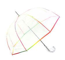 Regenschirm transparent durchsichtig Automatik Glockenschirm Regenbogen neu