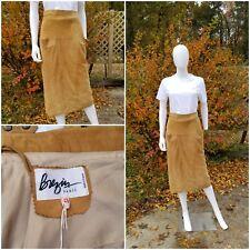 "Vintage BREZIN Paris Camel real Suede Midi pencil Skirt Size 40 W27-28"" stunning"