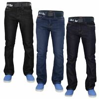 Mens Regular Fit Jeans Straight Leg Denim Pants Casual Trousers With Free Belt