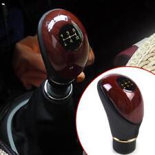 Universal Car Auto 5 Speed Gear Shift Knob Wood Grain Leather MT Gear Shift