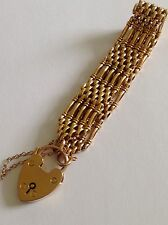 Extremely Fine Antique 9ct Gold Five Bar Gate Bracelet With Padlock Clasp