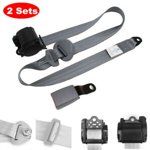 2x Car Seat Belt 3 Point Safety Travel Adjustable Retractable Auto Accessories