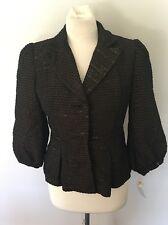 ALBERTO MAKALI Women's Blazer Jacket w/  Puff Sleeves Brown & Gold Sz 4 NWT New
