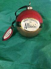 MERRY CHRISTMAS to ALLISON Paper Mache Ball Ornament STOCKING STUFFER Teacher