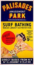 PALISADES AMUSEMENT PARK • Vintage 3-Sheet Poster • Linen-Backed • RARE • 1940's