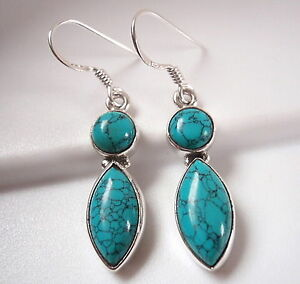 Blue Turquoise Marquise Round Double Gem 925 Sterling Silver Dangle Earrings