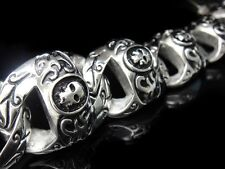 150 gram HEAVY Silver SKULL Bracelet Bad to the Bone for Harley Motor Biker 80