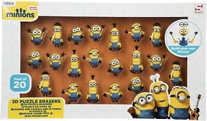 Minons Stackable Rubber Figures DISNEY SERIES One 3D Puzzle erasers   20 Pack