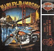 Vintage Harley Davidson 3D Emblem Golden Gate Bridge T-Shirt 80s Thin L RARE
