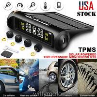 Car TPMS LCD Wireless Solar + 4 Sensors Tire Pressure Monitoring System US Stock