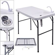 New Folding Portable Fish Table Hunting Cleaning Cutting Camping Sink Faucet