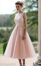 Neu Weiß/Elfenbein Rosa kurze Spitze Brautkleid Hochzeitskleid Brautkleider