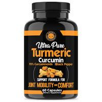 Ultra Pure Turmeric 95% Curcumin Anti Inflammatory w. BioPerine Pills - 60 Count