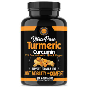 Ultra Pure Turmeric 95% Curcumin Anti Inflammatory w. Black Pepper Pills - 60 Ct