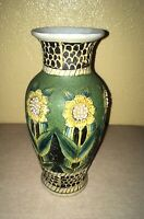 Vintage VTG Sunflower Vase Raised Paint Finish Pottery Floral Painting Design