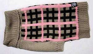 "NEW Size Large ""Toby's"" Pink Grey Black Plaid Striped Turtleneck Dog Sweater"