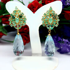 BRIOLETTE CUT AQUAMARINE BLUE QUARTZ & REAL GREEN EMERALD 925 SILVER EARRINGS
