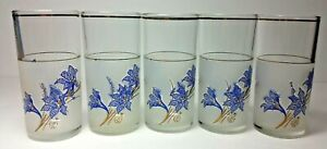 Set of 5 midcentury Glasses Cerve Floral blue frosted Italy Barware