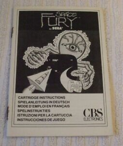 COLECO VISION INSTRUCTION (RARE) MANUAL ONLY *** SPACE FURY *** USED