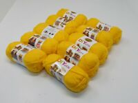 New LION brand Acrylic Yellow Yarn #4 Medium Lot Of 10 Skeins 650 Yards MSRP $45