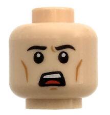 LEGO NEW LIGHT FLESH MINIFIGURE HEAD SCARED WORRIED OPEN MOUTH CHEEK LINES