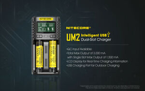 Nitecore UM2 Quick Battery Charger AA AAA 18650 21700 26650