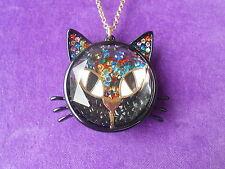 Betsey Johnson Authentic NWT Two-Tone Shaky Bead Black Cat Pendant Necklace