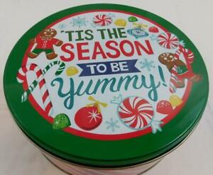 Celebrate It Christmas Holiday Tin Container New Tis the Season Yummy 8.75 in