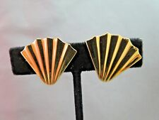 Monet Comfort Clip Earrings Gold Plated Ribbed Fan Design Sophisticated Nice!