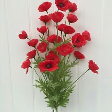 Bunch of Red Artificial Field Meadow Poppies,3 stems 27 Faux Silk Poppy Heads.