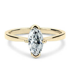 Delicate 14K Yellow Gold 1 CT Marquise Cut Moissanite Solitaire Engagement Ring