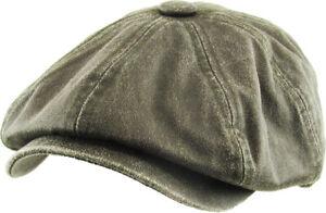 Men's Newsboy Button Top Ascot Ivy Cabbie Hat Gatsby Cap Plaid PU Leather