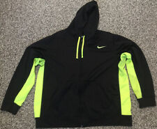 NIKE Men's Training Pullover Hoodie Therma-Fit Long Sleeve Black/ Neon XXL 2XL