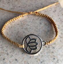 Handmade Fashion Adjustable Lotus Charm Yoga Knitted Bracelet