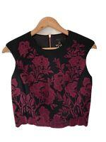 Ted Baker Size 1 Uk 8 Dark Red (Purple) & Black Vynus Floral Bodice Crop Top NWT