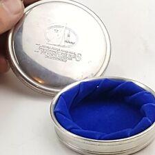 "Tiffany & Co Round Pewter BLUE ! Velvet Lined 3 7/8"" Jewelry Trinket nautical"