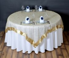 """RARE 85"""" sq CHAMPAGNE Satin Edge Sheer Organza Scroll EMBROIDERED Table OVERLAY"""