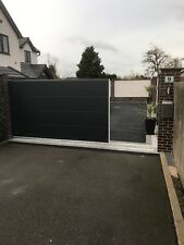Contemporary sliding Drive Gate panels Gates 40mm thick double skin anthracite