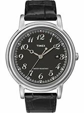 Timex Men's Classics Series Black Dial Leather Strap Watch T2N667 3 Handed Date