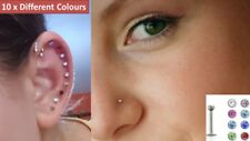 10 x Different Colours Internally Threaded Tiny Labret Monroe Tragus Nose Stud