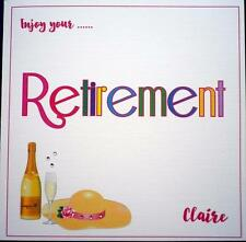 Hand made ~ Enjoy your RETIREMENT card ~ Personalised Pink