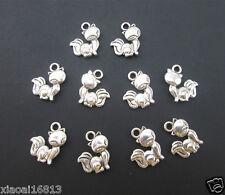 30PCS Tibetan Silver Lovely Fox Cats Animal Charms Beads Bracelets Pendants