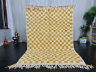 "Handmade Moroccan Beni Ourain Rug 5x7'4"" Checkered White Yellow Berber Carpet"