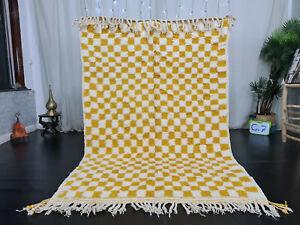 "Handmade Moroccan Beni Ourain Rug 4'9""x7'4"" Checkered White Yellow Berber Carpet"